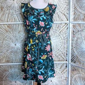 Dress: Belted Feminine Spring Floral Sleeveless